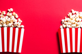 Popcorn Buckets on Red Background. Copy Space Template - PhotoDune Item for Sale