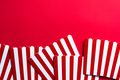 Cinema and Watching Movies Conccept Border Backgground. Red Strtiped Popcorn Buckets - PhotoDune Item for Sale