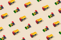 Truck and Tractor Creative Pattern on Yellow Background - PhotoDune Item for Sale