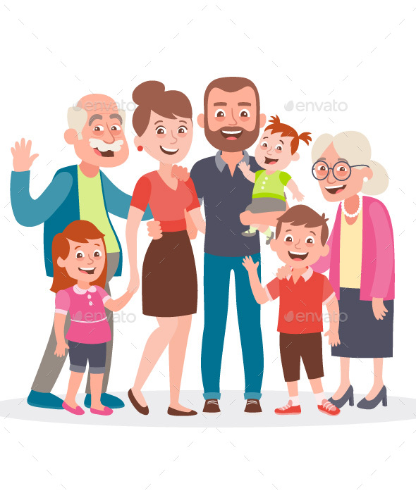 Big family portrait. Father, mother, three kids and two grandparents.
