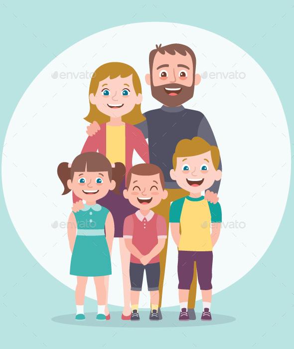Family portrait. Parents with children.