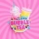 Bubble Tea Banner on Sweet Sunburst Background - GraphicRiver Item for Sale