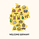 Germany Travel Banner Card with Map. Vector - GraphicRiver Item for Sale