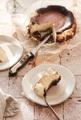 Piece of Homemade San Sebastian burnt cheesecake on white plate - PhotoDune Item for Sale