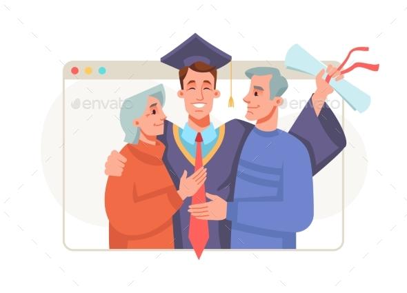 Graduate with Parents Online Graduation Ceremony