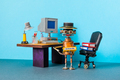 Retro office interior workspace and robot manager. Automation of office work processes - PhotoDune Item for Sale