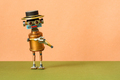 Creative design mechanical copper robot with a funny hat. - PhotoDune Item for Sale