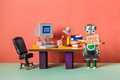 Unemployed robot manager retro style office workplace background. - PhotoDune Item for Sale