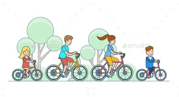 Mother father daughter son kids cycling.