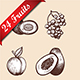 24 Fruits Hand Drawn Sketch - GraphicRiver Item for Sale