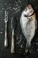 Fresh fish dorado on black table with salt - PhotoDune Item for Sale