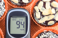 Glucometer with sugar level and fresh baked chocolate muffins. Delicious dessert for diabetics - PhotoDune Item for Sale