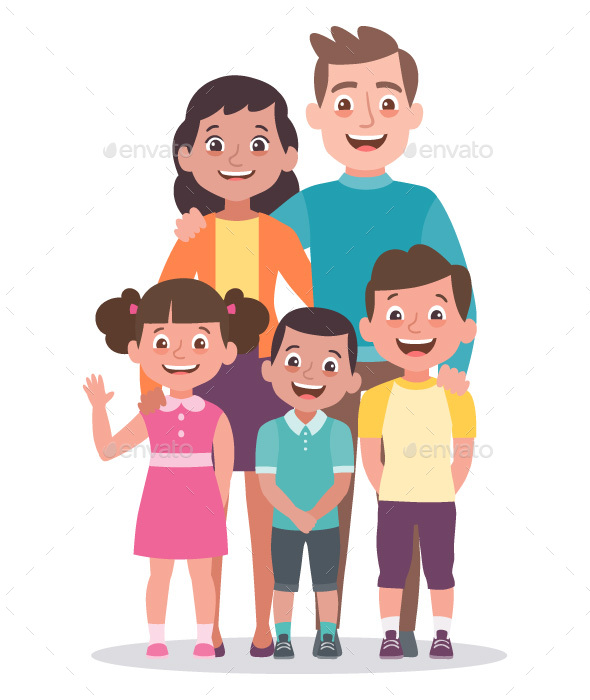 Family portrait. Parents with a girl and two boys.