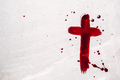 Christian cross painted with red blood on stone background. Copy space. Good friday. Passion - PhotoDune Item for Sale