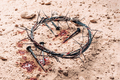 Crown of thorns and bloody nails on ground. Good Friday, Passion of Jesus Christ. Christian Easter - PhotoDune Item for Sale