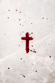 Crucifix made of blood. Good friday. Easter holiday. Christian cross painted with blood on stone - PhotoDune Item for Sale