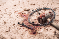Crown of thorns, hammer, bloody nails on ground. Good Friday, Passion of Jesus Christ. Christian - PhotoDune Item for Sale