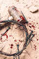 Good Friday, Passion of Jesus Christ. Crown of thorns, hammer, bloody nails on ground. Christian - PhotoDune Item for Sale