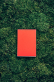 Craft notebook, red sketch book on fresh spring green grass, moss background. Copy space. Top view - PhotoDune Item for Sale