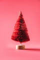 Zero waste Christmas tree on red background. Minimal concept. Copy space for your design - PhotoDune Item for Sale