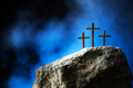Silhouette of three crosses on Calvary hill, blue background. Crucifixion, resurrection of Jesus - PhotoDune Item for Sale
