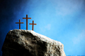 Three crosses against blue sky on Calvary hill background. Crucifixion, resurrection of Jesus Christ - PhotoDune Item for Sale