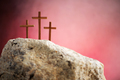 Three crosses against red sky on Calvary hill background. Crucifixion, resurrection of Jesus Christ - PhotoDune Item for Sale