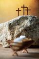 Wooden manger, three crosses background. Jesus - reason for season. Christian Christmas, Easter - PhotoDune Item for Sale