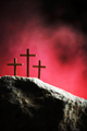 Crucifixion, resurrection of Jesus Christ. Three crosses against red sky on Calvary hill background - PhotoDune Item for Sale