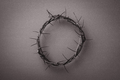 Crown of thorns over grey background. Top view. Copy space. Christian Easter concept. Crucifixion of - PhotoDune Item for Sale