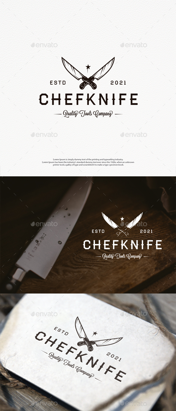 Chef Knife Vector Logo Template
