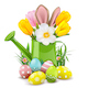 Vector Easter Watering Can with Rabbit - GraphicRiver Item for Sale