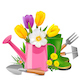 Vector Garden Concept with Pink Watering Can - GraphicRiver Item for Sale