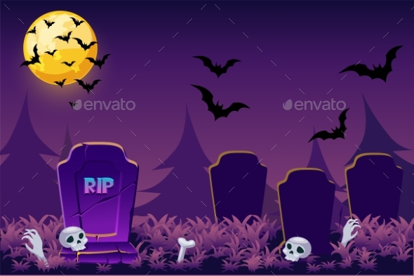 Night Simple Halloween Background Scary Cemetery
