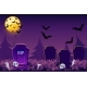 Night Simple Halloween Background Scary Cemetery - GraphicRiver Item for Sale