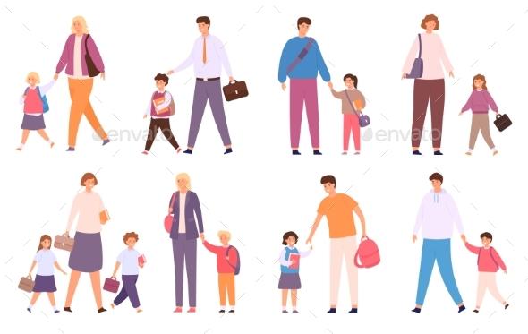 Parents Take Children to School