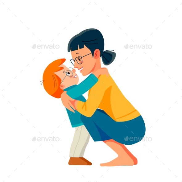 Woman Fun with Cute Child Baby Boy