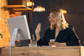 Businesswoman, manager working in modern office using devices and gadgets - PhotoDune Item for Sale