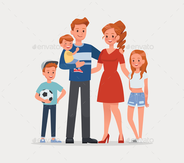 Happy family father mother and child character vector design.