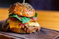 Close up tasty burger with minced meat served on tray - PhotoDune Item for Sale