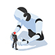 Isometric Businessman Facing with Against Ai Robot - GraphicRiver Item for Sale