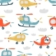 Childish Seamless Pattern with Cute Helicopter - GraphicRiver Item for Sale