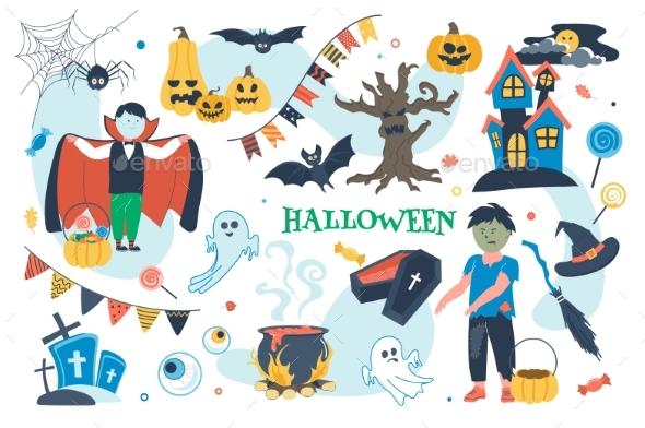 Halloween Concept Isolated Elements Set
