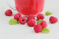 Delicious raspberry smoothie or milk shake with fresh berries - PhotoDune Item for Sale