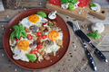 Fried eggs with mushrooms, tomatoes and basil on rustic wooden table - PhotoDune Item for Sale