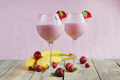 Delicious strawberry and banana smoothie, yogurt or milk shake with fresh berries - PhotoDune Item for Sale