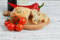 Sliced bread Ciabatta and vegetables. - PhotoDune Item for Sale