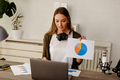 Businesswoman presenting chart and graphs on video call online.Businesswoman having conference call. - PhotoDune Item for Sale