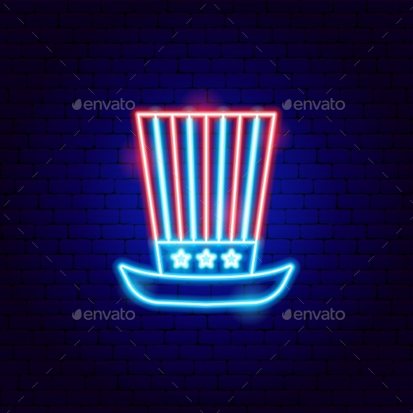USA Uncle Sam Hat Neon Sign