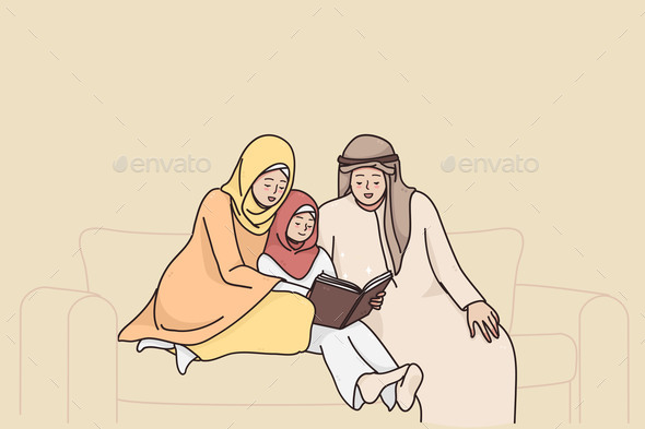 Traditional Muslim Family Lifestyle Concept